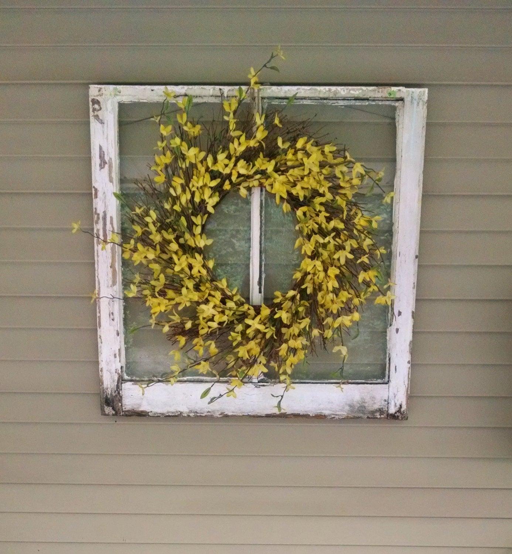 Window Pane Wreath Rustic Window Pane Wreath Vintage Window