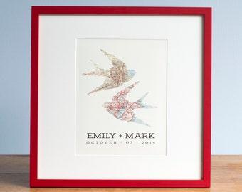 Swallow Map Print Wedding Gift, Wedding Art, Swallows, Bird Maps, Swallow Art, Wedding Art, Unique Wedding Gift