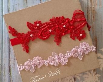Wedding garter set, Red and pink Garter,Rhinestone Red and Pink Garter,Bridal garters red, pink,bridal garter,Floral lace garter,Garter Set
