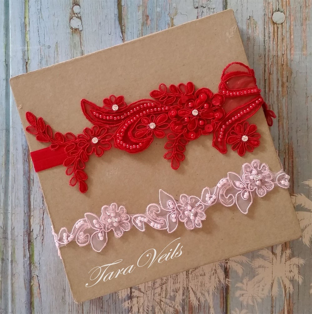 Red Wedding Garters: Wedding Garter Set Red And Pink GarterRhinestone Red And