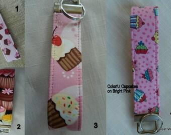 Cupcakes, Key Fob, Key chain, Wristlet, Camera Strap