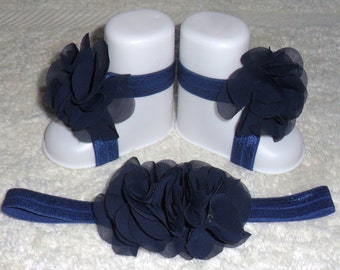 Handmade Cute Navy Chiffon Flower Baby Barefoot Sandals & Headband Set