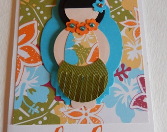 Orange Aloha Hula Girl Card