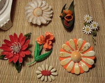 Vintage Enamel Brooch Lot of 7 Mod ,Shell,Daisy Flower As Is Repaint /Repair Craft Lot