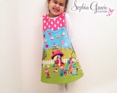Girl's Colorful Easter Dress, Funky Girl's Easter Outfit, Easter Bunny, Novelty Dress, Girl's Easter Pinafore, Ready To Ship 3-4 years
