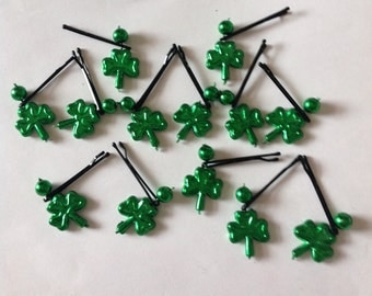 Beard On A Budget St Patrick's Day Shamrock Beard Ornaments Handmade Beard Art Baubles Ultra Mini Pins or Mini Clips  MADE IN USA