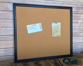 Message board - framed cork bulletin board - black frame