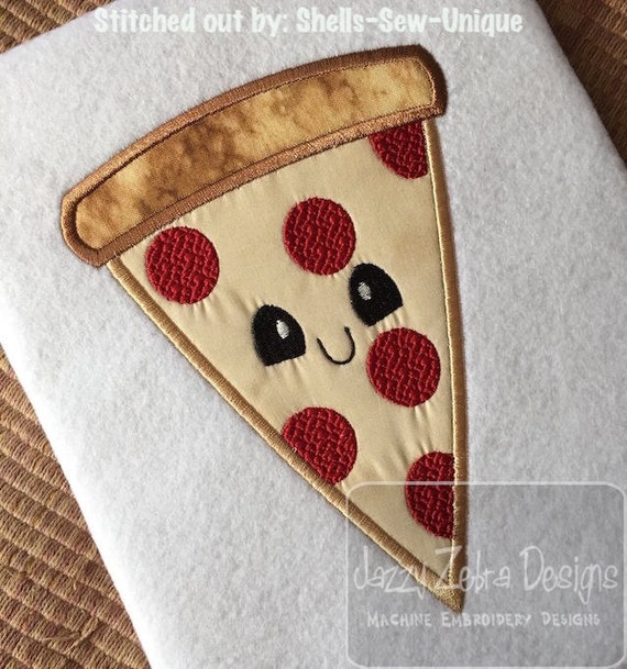 Pizza with Face Appliqué embroidery Design - pizza appliqué design - pizza party appliqué design - food appliqué design - pepperoni pizza