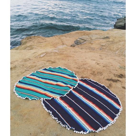 Mexican Beach Blanket: Round Beach Blanket Mexican Blanket Dark Purple With Pom