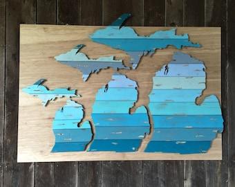 Hand Cut Wooden Michigan Wall Art: The Leland