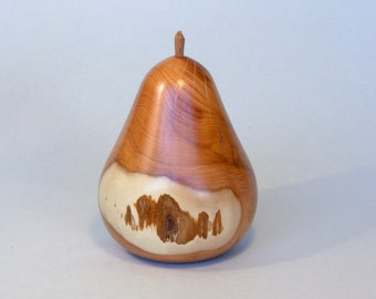 Hand-turned  Reclaimed Yew Wood Pear by Tom Thumb Designs  (ref 371A)
