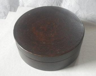 Antique Paper Mache Round Trinket Box Container