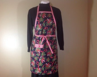 Christmas Bib apron Hostess apron Luncheon apron  Christmas gift  Christmas fabric Candy canes Holly berries