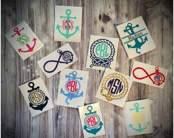 Nautical Monogram Decal, vinyl monogram, ocean, beach, anchor decals, personalized decal