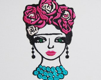 MACHINE EMBROIDERY FILE - Frida style girl, Mexican embroidery