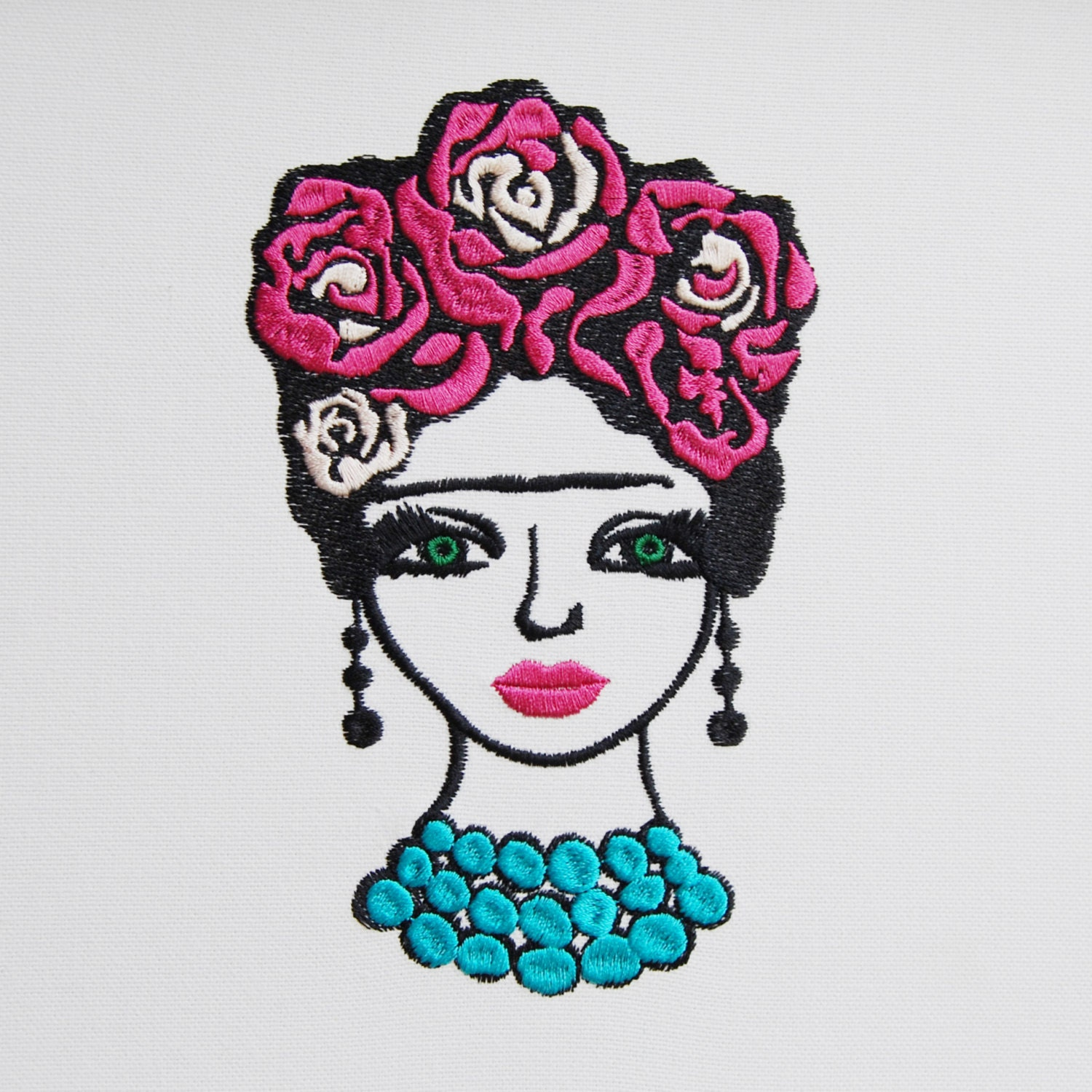 Machine embroidery file frida style girl mexican