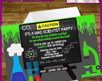 Mad Scientist Printable Personalized Kids Birthday Invitation Digital File