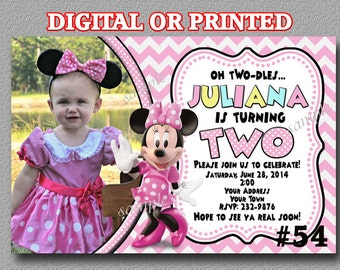 Minnie Mouse Birthday Party Invitations, YOU PRINT or PRINTED Birthday Party invites Pink - Photo