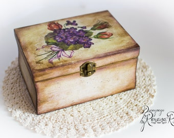 Wooden box , wood box , storage box , flowers box , keepsake box , wooden chest , deco box , memory box ,wooden jewelry box