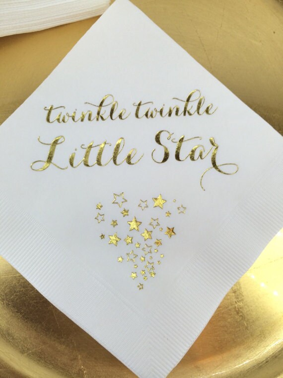 25 Personalized Napkins Baby Shower Twinkle Twinkle Little Star Gold Foil Monogram Cocktail Beverage White with Metallic Gold Foil Print