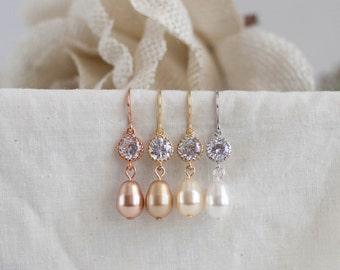 Pink gold wedding jewelry rose gold bridal earrings blush gold earrings gold crystal earrings blush bridesmaid jewelry bridesmaid earrings