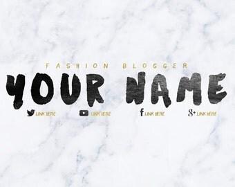 Marble & Gold Font Youtube Banner / Custom