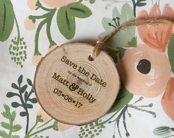 Wooden Round Save the Date