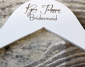 Personalised Wooden Wedding Hanger. Bridal Gift WH32 WHITE