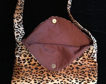 Leopard print messenger bag,animal print,purse,shoulder bag,cross body bag,leopard,brown,cheetah,tiger,woman's bag,messenger bag
