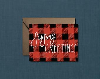 Buffalo Plaid Season's Greetings Christmas Card // DIY PRINTABLE 4.25x5.5 Card // Holiday Card, Christmas Card, Plaid Card