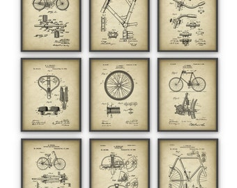 Bicycle Patent Prints Set of 9 - Cycling Inventions - Bicycle Wall Art Posters - Handlebar - Pedal - Frame - Wheel - Cycling Gift Idea