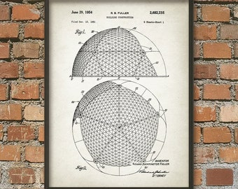 Buckminster Fuller Patent Print - Buckminster Fuller Building Design - Architecture Geodesic Dome Patent - Architectural Biosphere