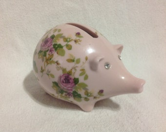 Mini Pink Piggy Bank With Roses And Rhinestone Eyes