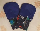 Space Waterproof Teething Mittens for Finger Biting Babies * velcro cuff*