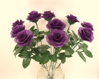Purple Silk Flower Roses with 15.7 Inches Stems,Fake Artificial Fabric Silk Rose Bush,Wedding Bouquet Flowers Party Aisle decorations