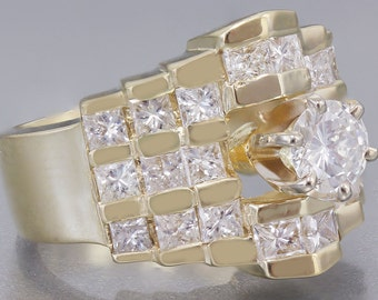 14K Yellow Gold Round and Princess Cut Diamond Engagement Ring 1.70ctw