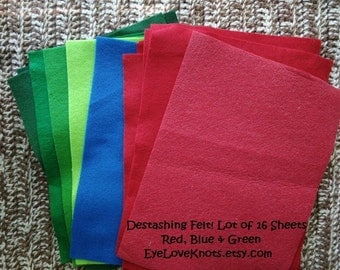 DESTASH - Lot of 16 Sheets of 9 inch by 12 inch Red, Blue and Green Felt - Ready to Ship!
