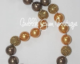 Gold and Cappuccino Bubble Gum Necklace