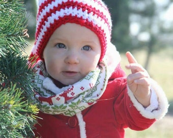 Holiday Hat,  Striped elf hat,striped Christmas hat, pixie hat,Santa hat,striped stocking hat,stocking hat, striped christmas hat