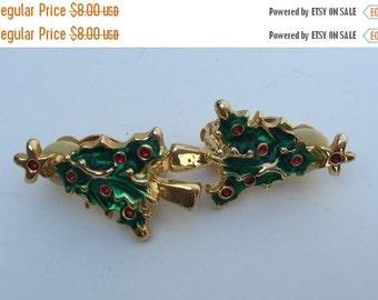 SALE Earrings Clip Christmas Tree Enameled Red Rhinestones Vintage