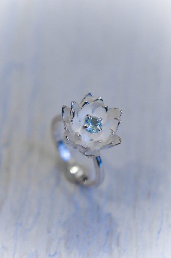 blue topaz ring flower engagement ring by themanerovs