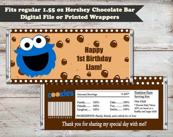 Blue Monster Candy Wrapper, Cookie Candy Bar Wrapper, Blue Monster, Hershey© Candy Bar Wrapper, Party Favors, Digital or Printed Wrappers