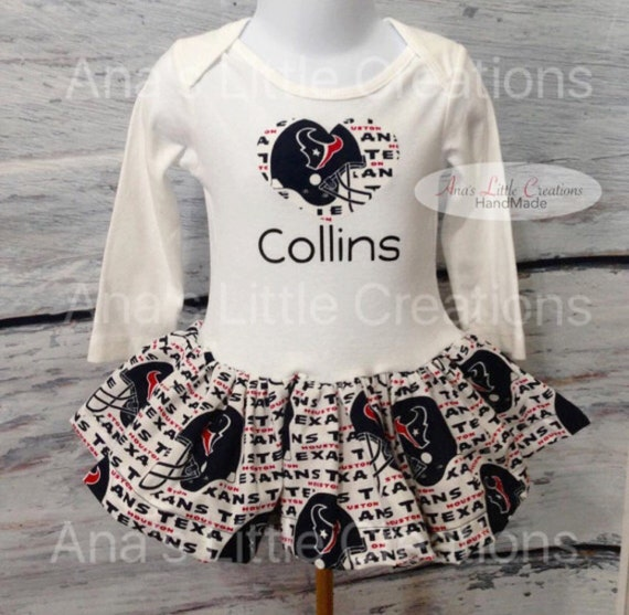 Houston Texans BodySuit, Baby Dress with name and Heart Applique