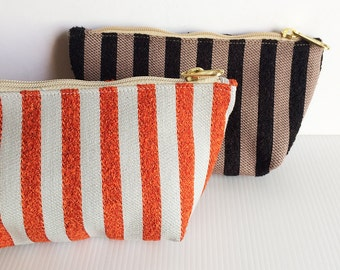 Set of 2 Zipper Pouches, Strips Pattern, Cosmetic Bag, Pouch Tutoial,Makeup Bag, Zipper Pouch, Zipper Pencil, lady accessories, gift