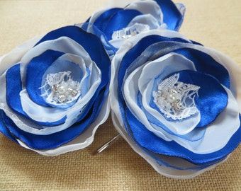 Royal blue wedding hair flowers (3 pcs), bridal hairpiece, bridal hair clips, wedding hair accessories, bridal flower, ready to ship