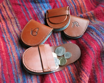 Small leather coin pouch, hand-stitched, with bespoke motif design