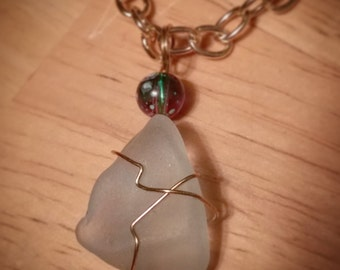Light blue seaglass pendant necklace