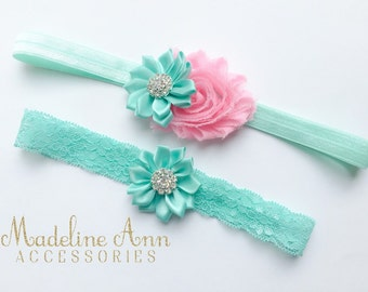 Mint Pink Baby Headband, Matching Sisters Headbands, Flower Girls Headband, Mint Green Lace Headband, Toddler Hair Accessories