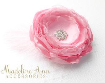 Pink Satin Flower Hair Clip, Flower Girl Hair flower, Fancy Pink Baby Headband, Pink Flower Fascinator Clip, Bridal Flower