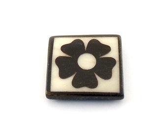 Brown and White Square Natural Bone Flower Pendant